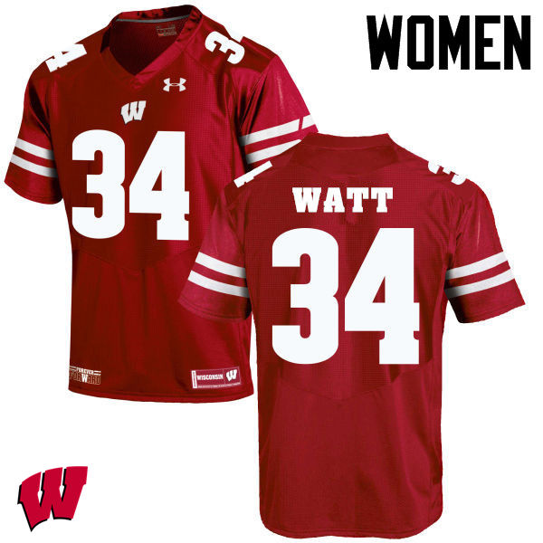 Women Winsconsin Badgers #34 Derek Watt College Football Jerseys-Red